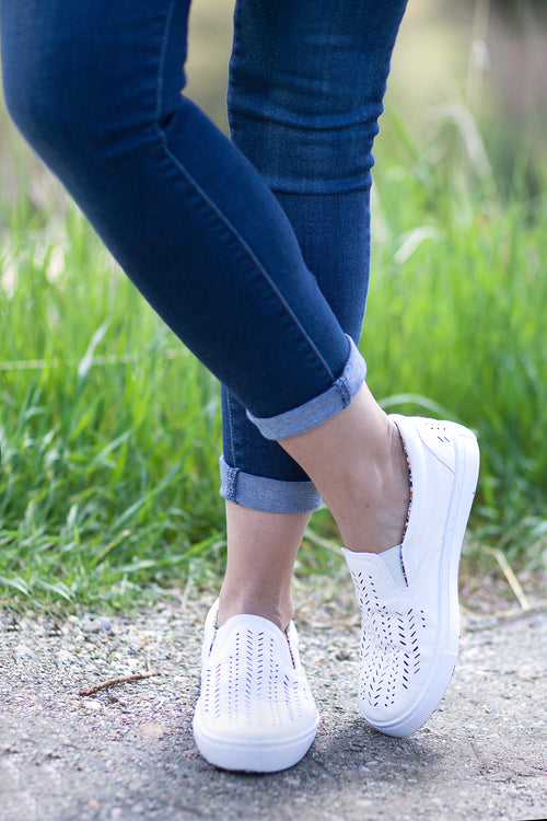 White Cut-Out Sneakers