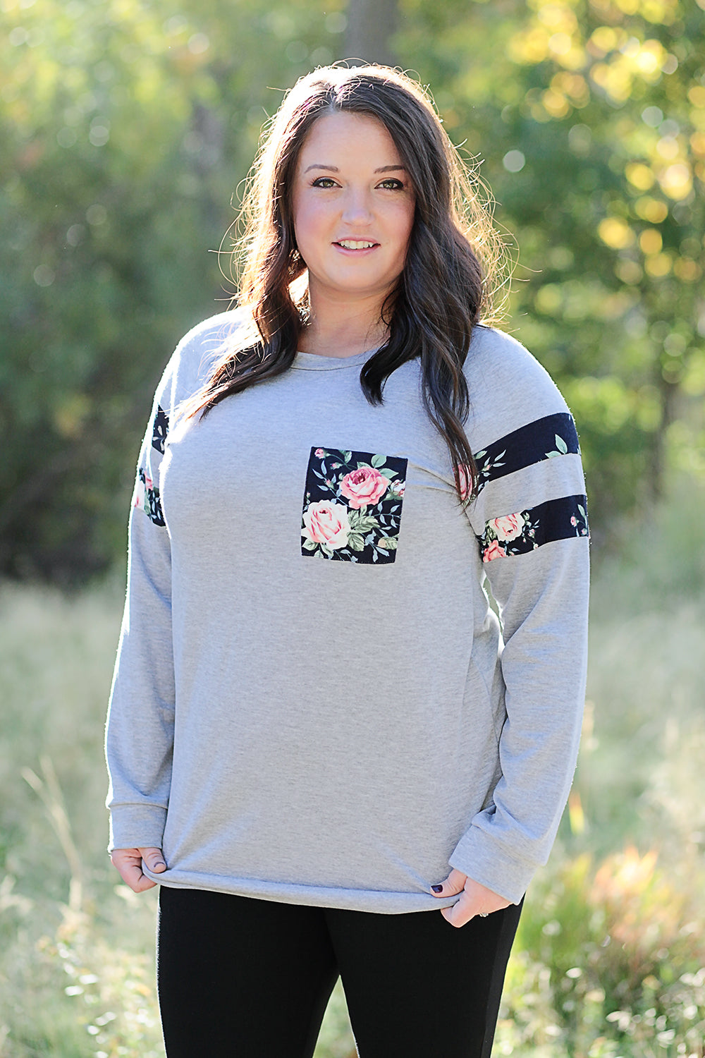 Floral Pocket Plus Sweater
