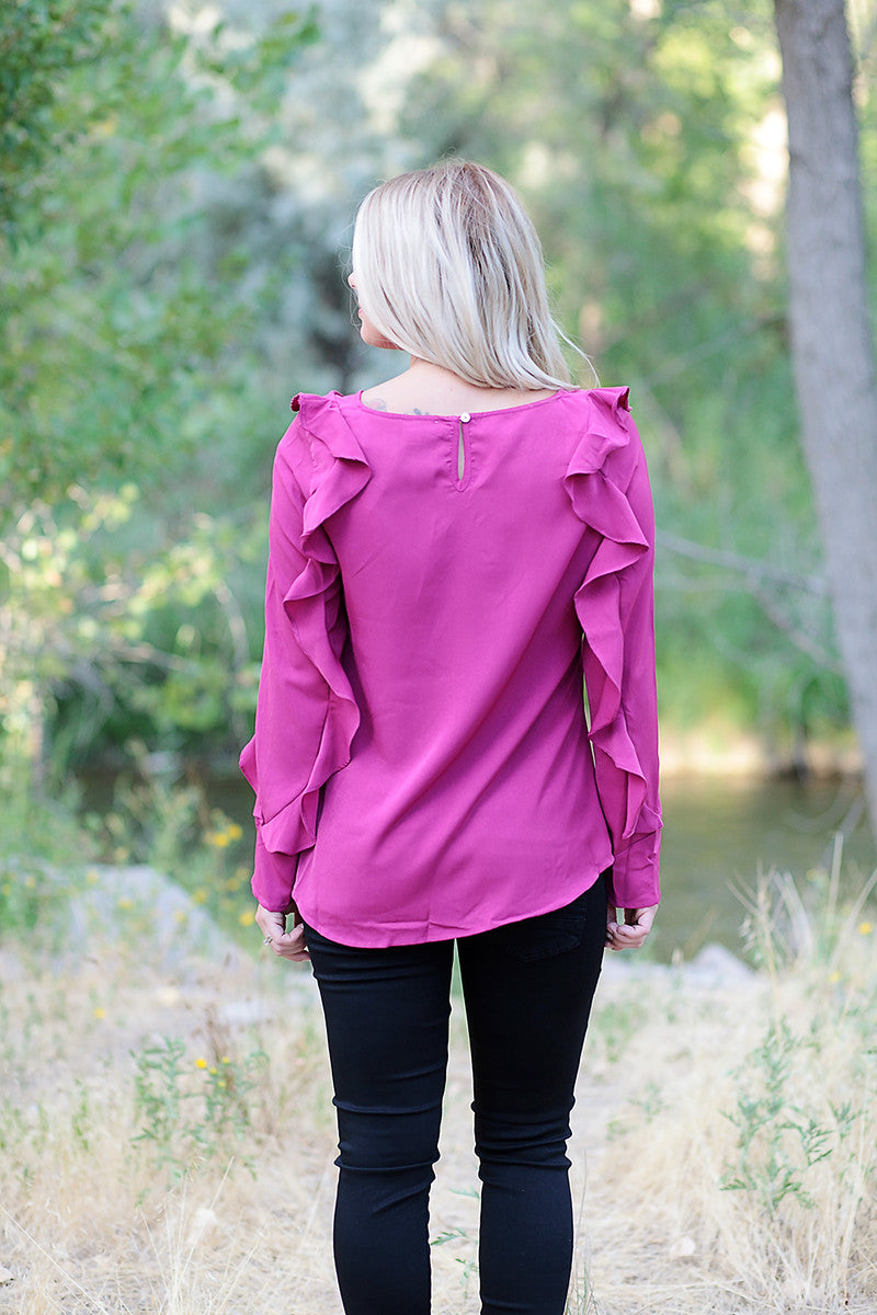 Berry Ruffled Sleeve Blouse