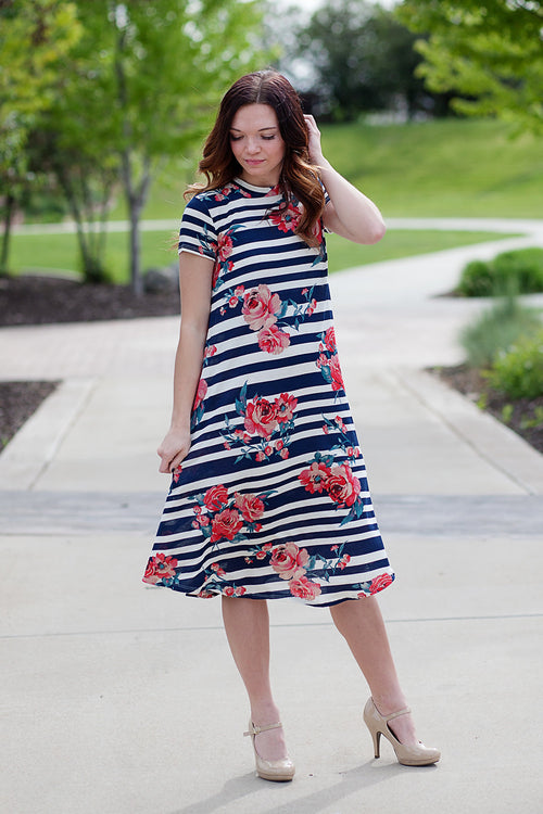 Striped Up Floral Dress