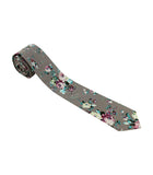 Grey Floral Skinny Tie w/ Matching Bow Tie & Pocket Square