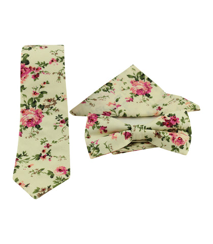 Ivory Floral Skinny Tie w/ Matching Bow Tie & Pocket Square