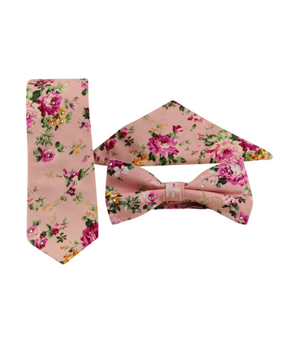 Pink Floral Skinny Tie w/ Matching Bow Tie & Pocket Square