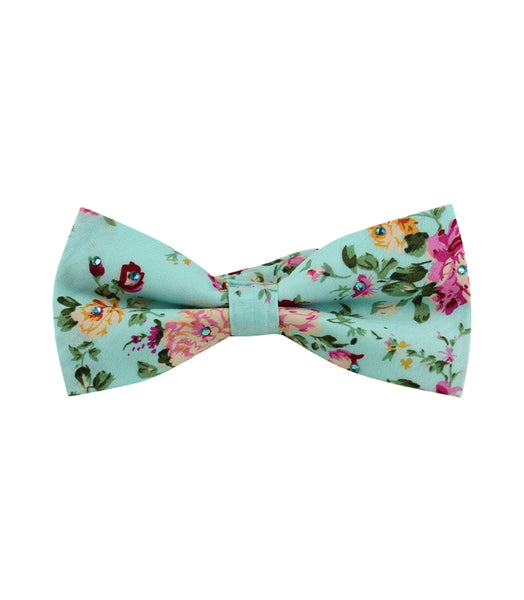 Teal Floral Bow Tie