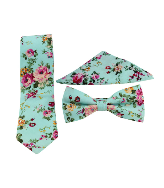 Teal Floral Skinny Tie w/ Matching Bow Tie & Pocket Square