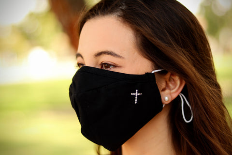 Christian Cross Swarovski Crystal Face Mask