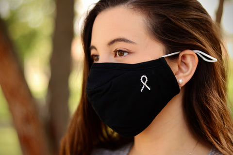 Cancer Ribbon Swarovski Crystal Face Mask
