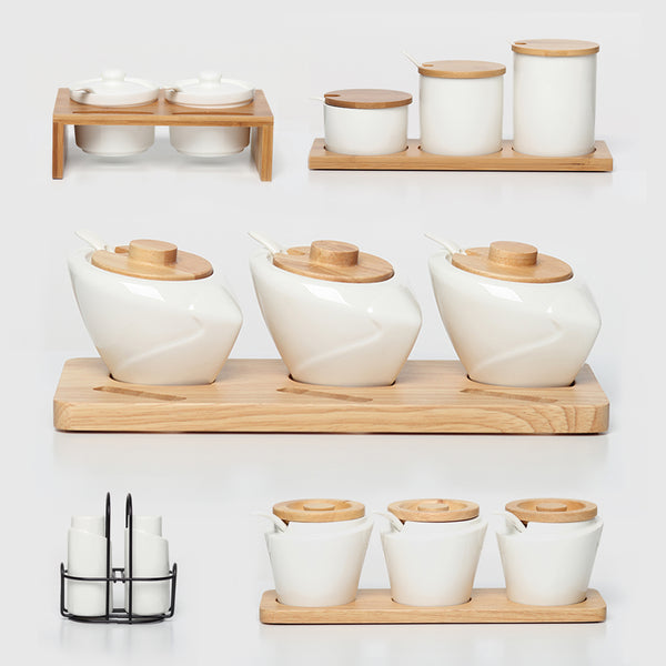 Ceramic Bamboo Kitchen Storage Canisters