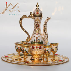 New Arrival! Gold and white Coffee/Wine/Tea set (1 set = 1 plate+ 1 pot +6 cups)
