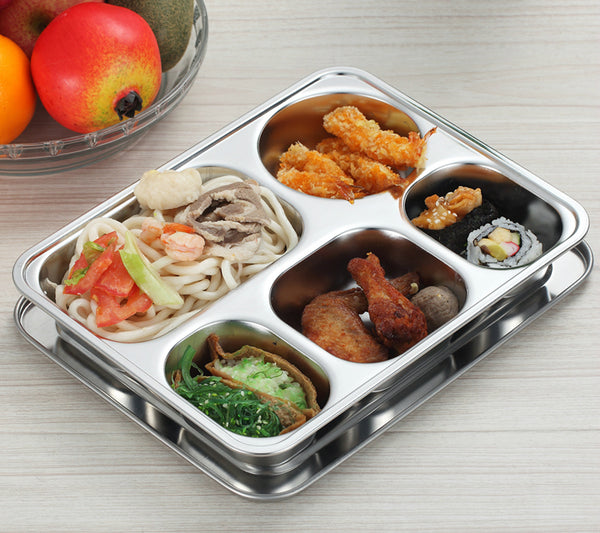 Stainless steel insulated snack tray (bento lunch box style)