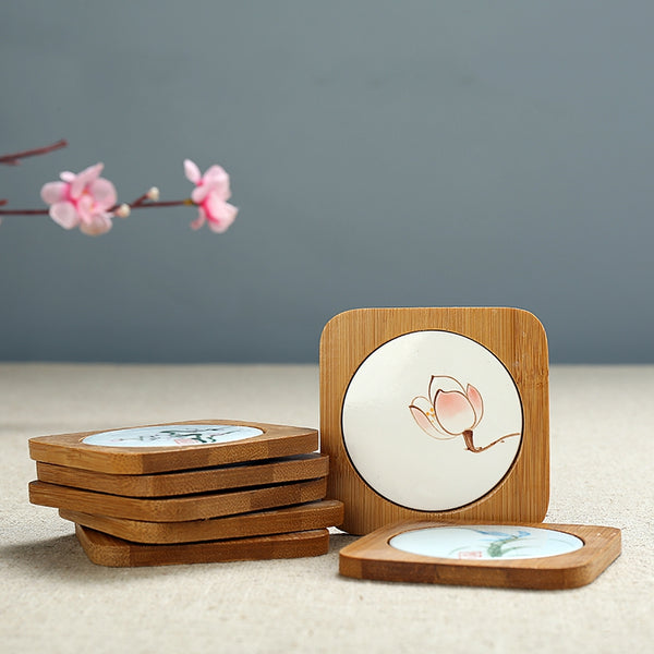 Traditional Chinese Hand-painted Bamboo Coasters