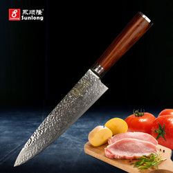 Sunlong 8 '' Chef Knife VG-10 steel core is 67 layers Damascus Steel.