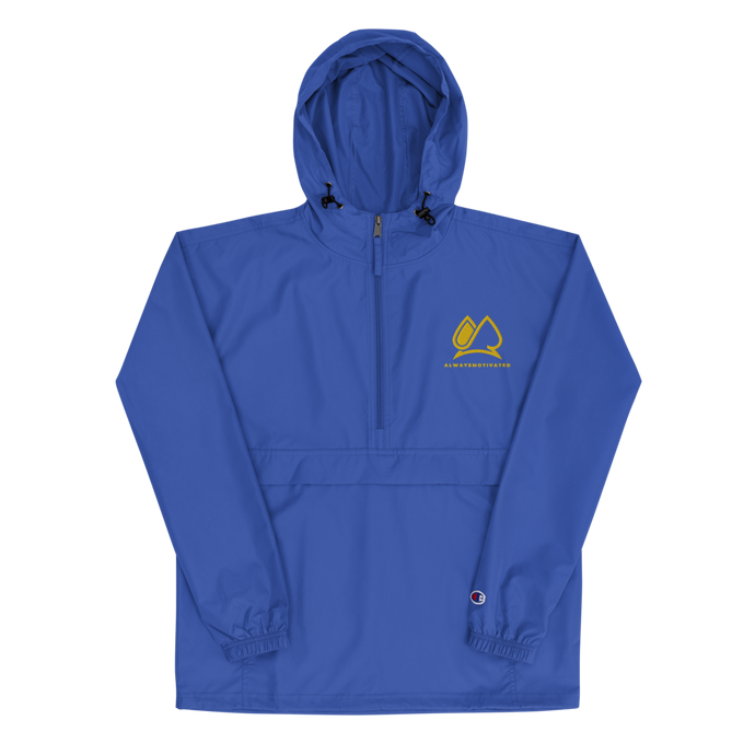Always Motivated x Champion Packable Jacket- Bleu/Gold