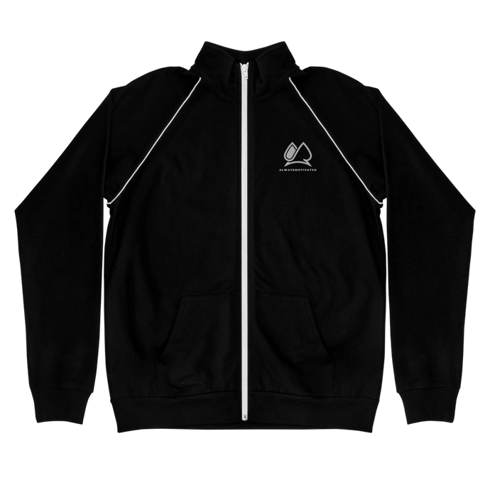 Always Motivated piped fleece Jacket - Black/White