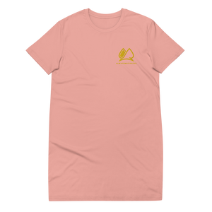 Always Motivated Organic cotton t-shirt dress Pink/Gold