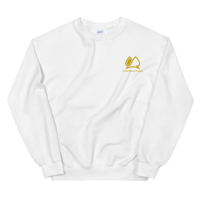 Always Motivated Sweatshirt -White/Gold