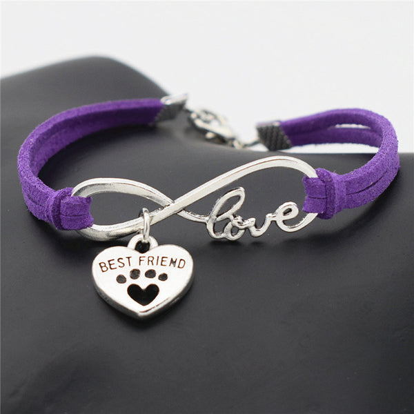Dog Lovers Charm Leather Infinity Love Bracelet