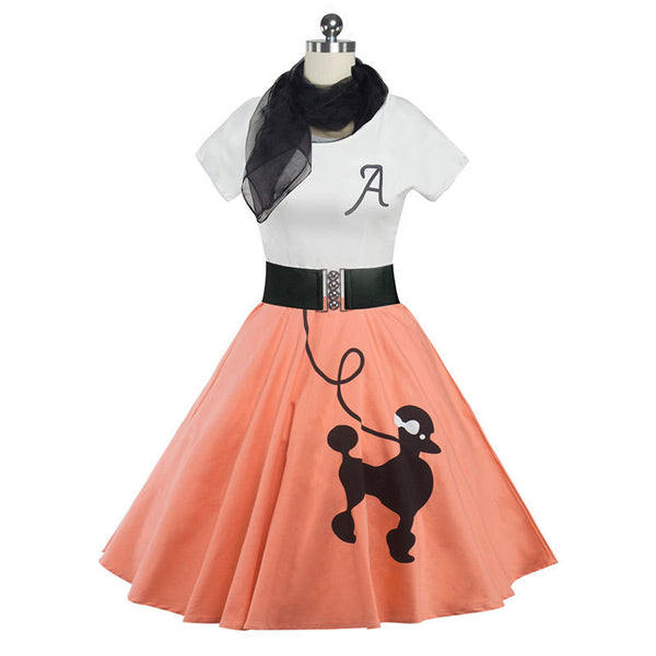 Rockabilly Poodle Skirt And Top - Pink