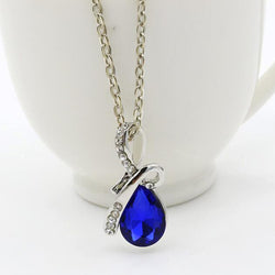 Silver Pendant Necklace Crystal Drop Shape Short Chain