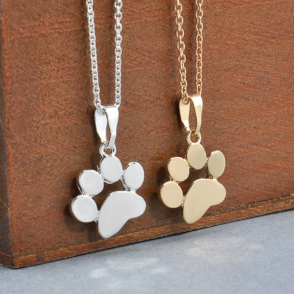 Dog Paws Pendant Necklace in Gold and Silver