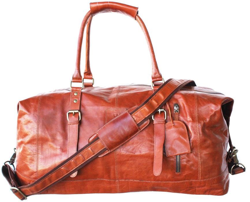Leather Cow Hide Carry-On Duffle Duffel Weekend Luggage Travel Bag 1830