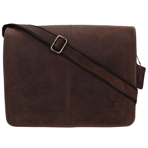 Genuine Leather Expandable Portfolio Messenger Shoulder Bag Brief Case 18MB203DB