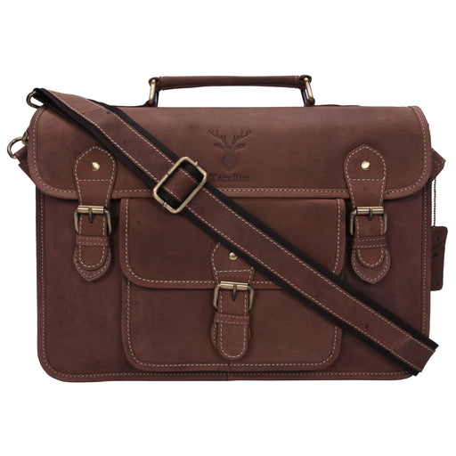 Genuine Leather Expandable Portfolio Messenger Shoulder Bag Brief Case 18MB212