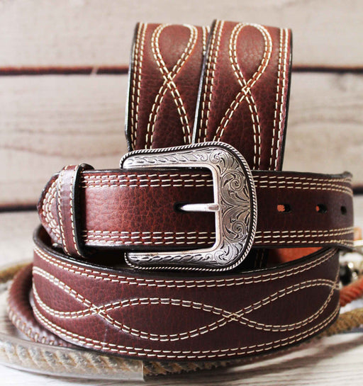 "3D USA 1-1/2"" Dark Brown Men's Western Fashion 100% Leather Belt 261357"