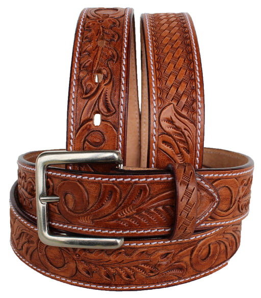 "1.5"" wide Western Heavy Duty Men Women Genuine Leather Belt Brown 2646RS"