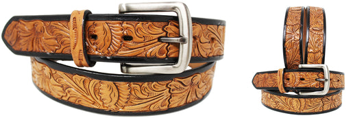 "1.5"" wide Men's Women Cowboy Western Fashion Tooled Leather Belt  265758"