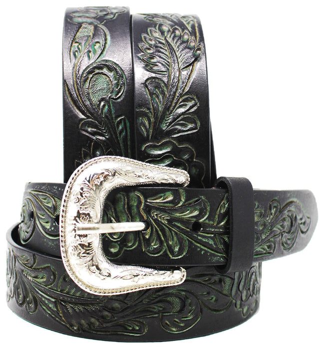 "Western 1-1/2"" Wide Brown Black 100% Leather Floral Tooled Belt Casual 26AA08"