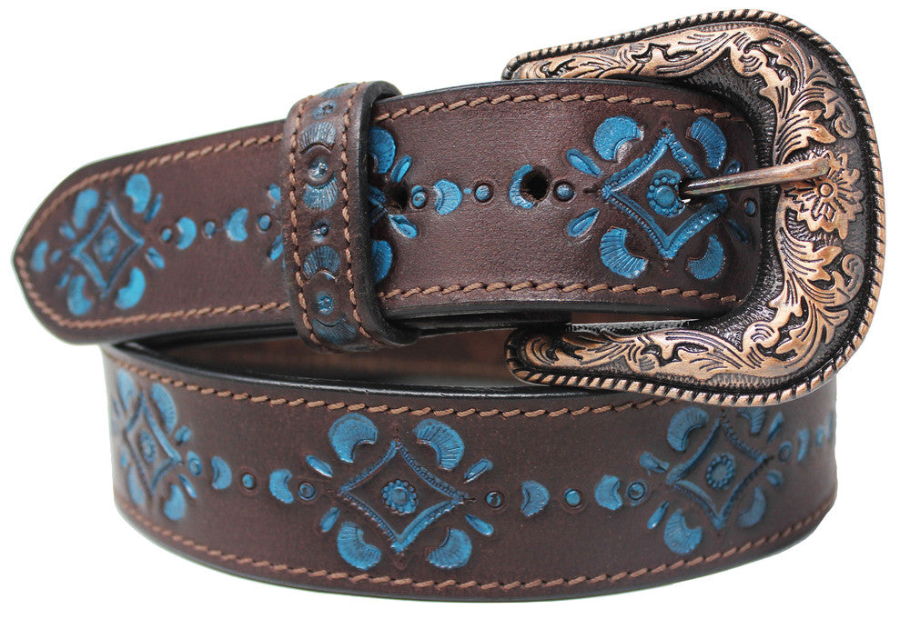 "Western 1-1/2"" Wide Brown Black Cow Leather Floral Casual Jean Belt Turquoise 26AA307"