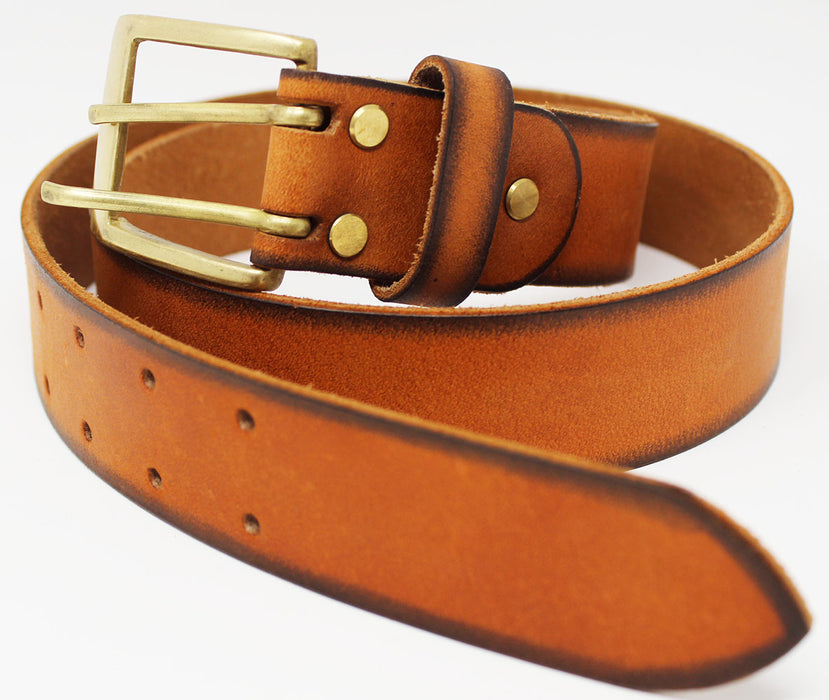 100% Leather Belt Strap Double Hole Work Holster Removable Buckle 26AA65