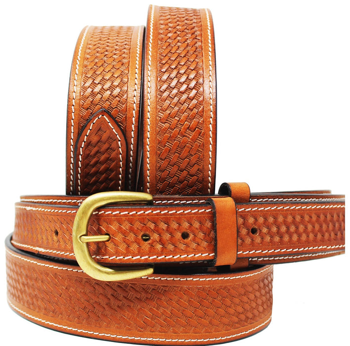 "Mens 1-1/2"" Western 100% Cow Leather Basket Weave Tooled Ranger Belt 26RAA104"