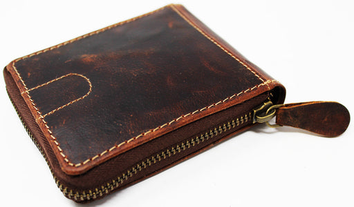 Challenger Handcrafted Brown Leather Small Zip Around Bi-Fold Wallet 27AA34