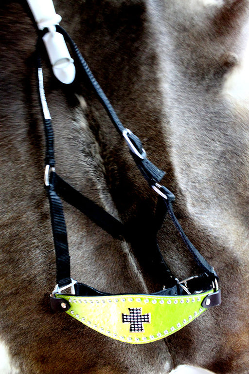 Horse Noseband Tack Bronc Leather Nylon HALTER Cross Tiedown Lead Rope 280214