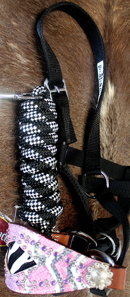 Horse Noseband Tack Bronc Leather HALTER Tiedown Lead Rope  280367