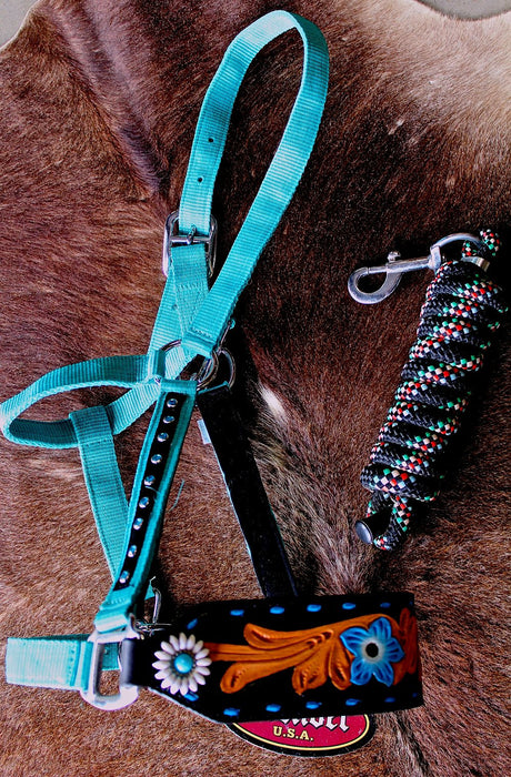 Noseband Tack Bronc Leather HALTER Tiedown Lead Rope 280P