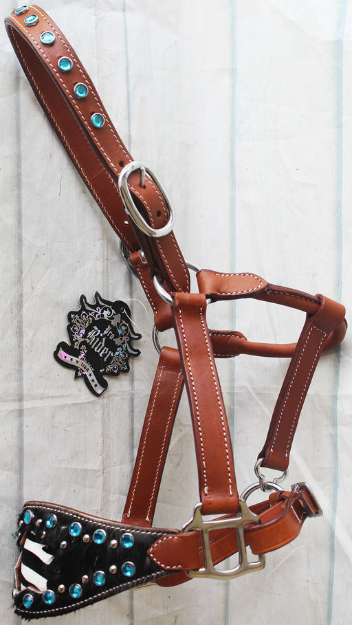 Horse Noseband Tack Leather Bronc Show HALTER Tiedown  28117