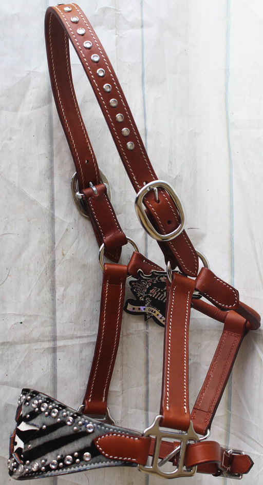 Horse Noseband Tack Leather Bronc Show HALTER Tiedown  28121