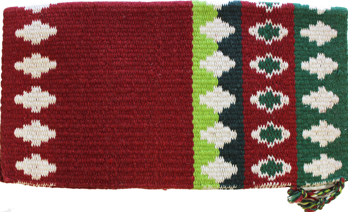 34x36 Horse Wool Western Show Trail SADDLE BLANKET Rodeo Pad Rug Red Green 3645