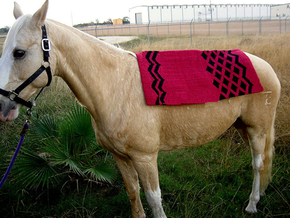 34x36 Horse Wool Western Show Trail SADDLE BLANKET Pad Area Rug Pink 3670