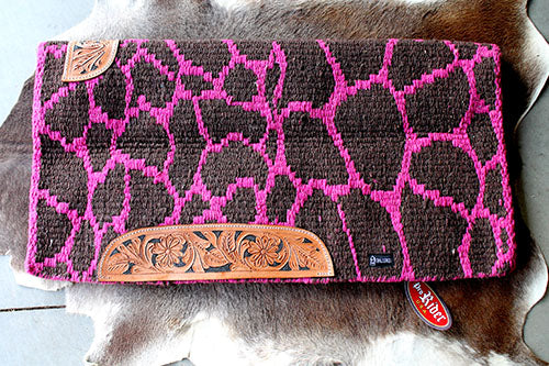 Horse Wool Western Show Trail SADDLE BLANKET Rodeo Pad Rug Pink Brown 3673C