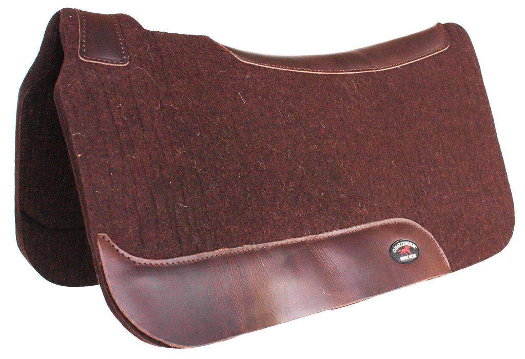 "1"" Thick Horse SADDLE PAD Western Contoured Wool Felt Moisture Wicking Brown 39RT06"