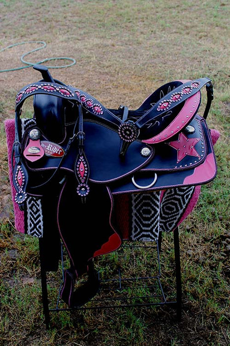 Western Cordura Trail Barrel Pleasure Horse SADDLE Bridle Tack Pink 4937