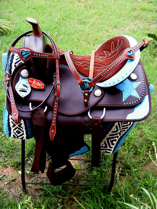 "17"" Western Cordura Trail Barrel Pleasure Horse SADDLE Bridle Tack Brown 4948"