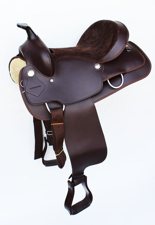 Western Cordura Trail Barrel Pleasure Horse SADDLE Bridle Tack Brown 4988