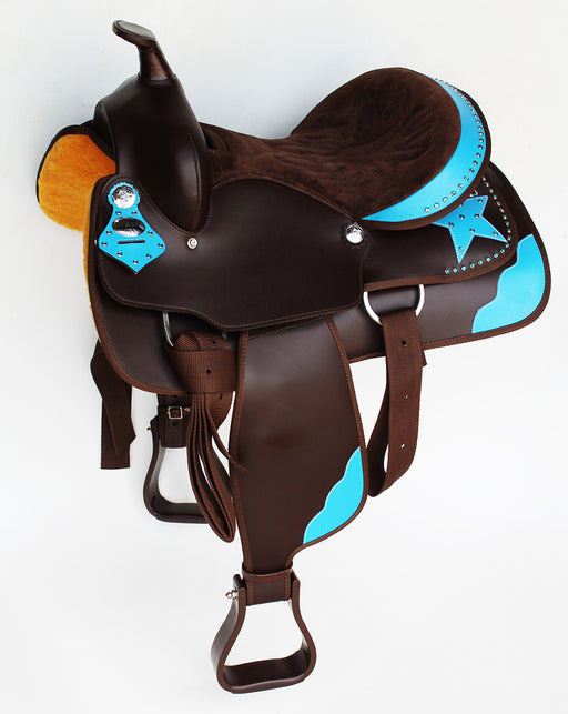 Western Cordura Trail Barrel Pleasure Horse SADDLE Bridle Brown 4993