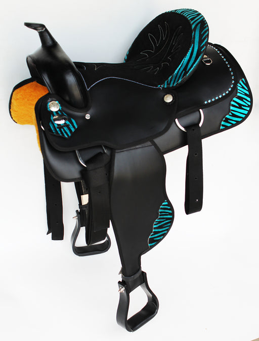Western Cordura Trail Barrel Pleasure Horse SADDLE Bridle Black 4994