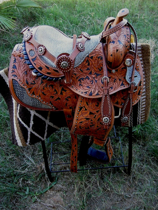 Horse Western Barrel Show Pleasure LEATHER SADDLE Bridle  50100